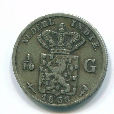 1856 Netherlands East Indies 1/10 Gulden Silver Colonial Coin Nl13137#3