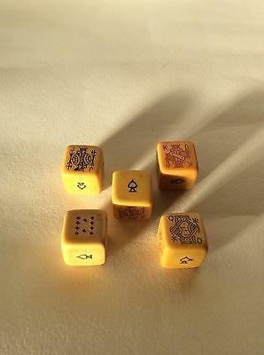 Vintage Poker Dice In Leather Case