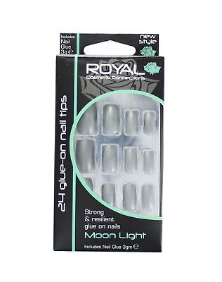 Royal 24 Glue-On Strong & Resilient Nail Tips - Moon Light