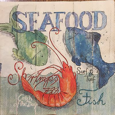 2 single paper napkin decoupage collection Seafood Kitchen Seafood Shrimp Fishes