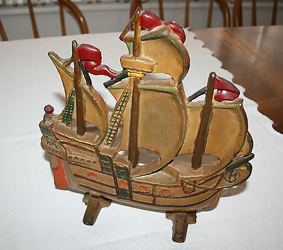 Cast Iron Doorstop Ship #12 Vintage Sailing Pirate Ship