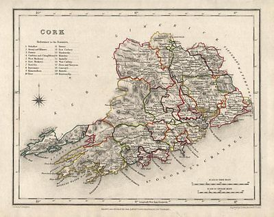 COUNTY CORK antique map for LEWIS by CREIGHTON & DOWER. Ireland 1846 old