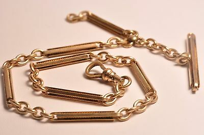 Victorian gold filled pocket watch single chain fob w/ unique T-bar 12.5 inches