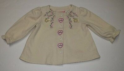 Baby Girl Sweater Size 12 Months Ellemenno Long Sleeve Yellow Pink Flowers