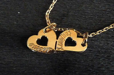 """Neuf : Pendentif Or  jaune 18 cts """"Coeurs Sécables messages :amour toujours"""""""
