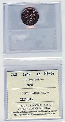 1947 Canada 1 Cent Coin Graded ICCS MS64 # XRT 812