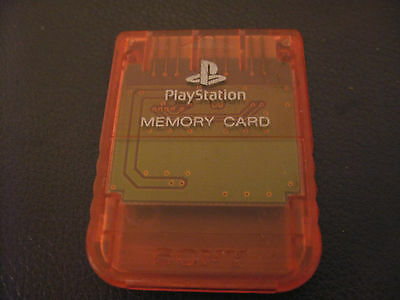 OFFICIAL SEE THROUGH RED SONY MEMORY CARD for PS1 PLAYSTATION 1