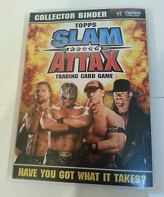 WWE: TOPPS SLAM ATTAX Trading Card Binder W/ Cards, 2008, Near Complete