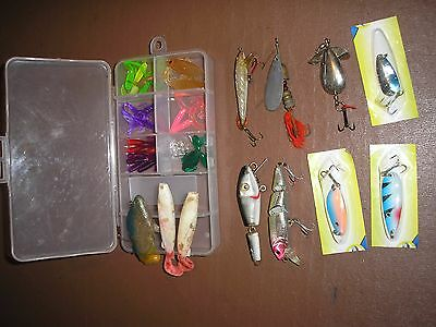 Job Lot Of Assorted  Fishing Lures , Spoons, Spinners, Plugs, Soft Lures + Box