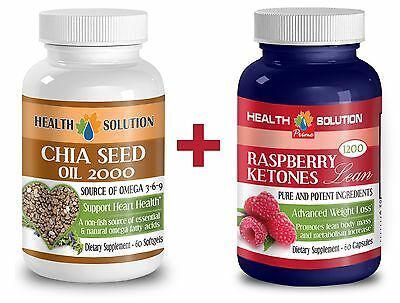 Chia Seed Oil 2000mg Omega 3-6-9 + Raspberry Ketones Lean 1+1 Bottle