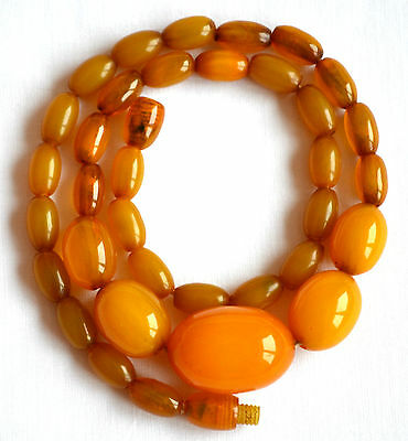 Antique Baltic Amber genuine olive necklace art deco 15 gr egg yolk beads