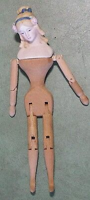Vintage Shackman Hand Made Wood Doll with Bisque Head Japan, 9.5""