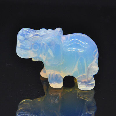 "1.5"" Mini Created Opal Opalite Carved Elephant Figurine Statue Animal Sculpture"