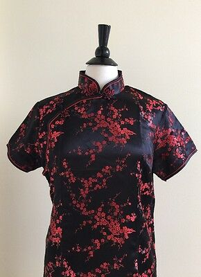 Black/red Floral Chinese Traditional Pencil Short Satin Dress Sz 44/US 12