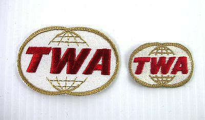 TWA Airline Lot of 2 Embroidered Patches Vintage Unused Two Different Sizes