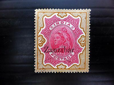 ZANZIBAR 1895 on India 2R SG19 Fine/Used Tiny Tone Spots FP9055