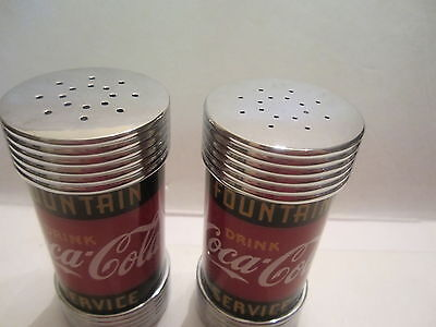 Coca-Cola Salt & Pepers ,ribbed To Look Like Counter Stools Start @ $ 8.00