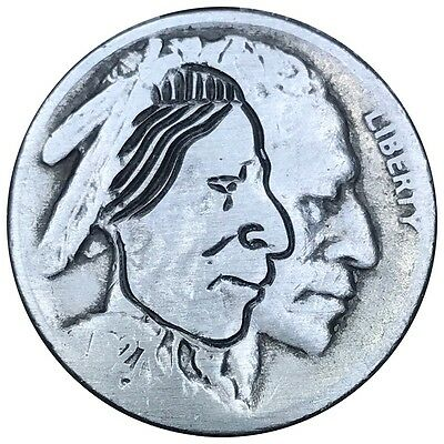 Coin Art Hobo Nickel Indian Brave Warrior Chief Carved Engraved Money