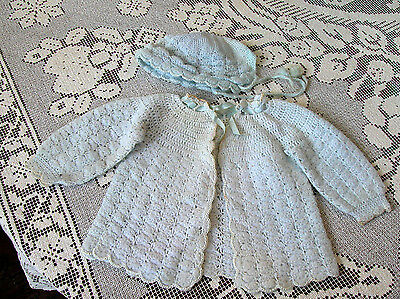 Vintage 1940s-50s Powder Blue KNITTED SWEATER AND BONNET Hand Made Toddler