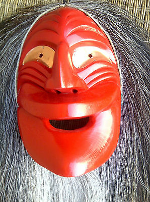 Iroquois Mask -Widelip Smiling Mask -G. Thomas -Full size- Red w Blk Horse Hair