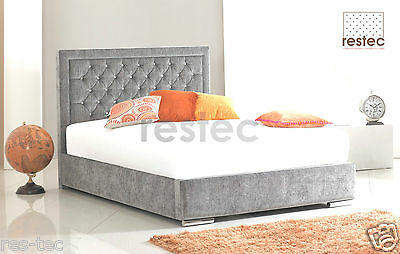 Eva Fabric Upholstered Bed Frame Chenille  3Ft Sing 4Ft6 Double 5Ft King Size