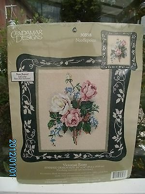Candamar Designs - Needlepoint Kit - Victorian Roses Cushion Kit Bn