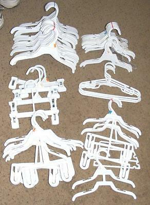 Lot Of 60+ Baby Clothes Hangers Variety Size Tabs Baby Sets White Plastic