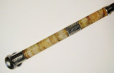 Antique Victorian Silver & Marble Umbrella / Parasol / Walking Stick Handle 1894