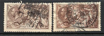 George V 2/6d Seahorse x 2 Used Perfins 1913/1918 & 1934 As Scanned Cat £115.00