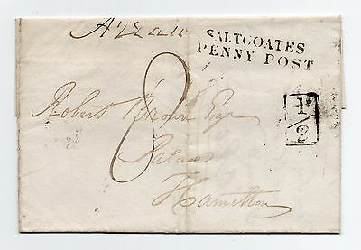 1839 Cover To Hamilton Saltcoates Penny Post & Boxed Marks+ Boxed Additional ½d