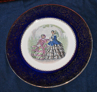 """Imperial Service Plate, Salem China Co. Lovely Victorian Ladies 10 3/4"""" Plate"""