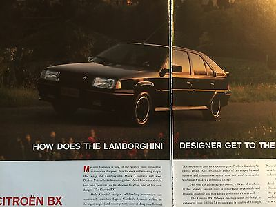 "CITROEN BX 16V # ORIGINAL 1989 AUTOMOTIVE ADVERT # 12"" x 16"""