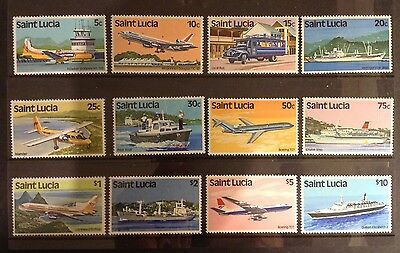 St Lucia 1980 Transport Set Of 12 Stamps