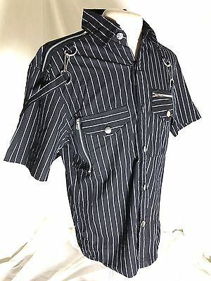 SDL Pinstripes Bondage Half Sleeves With Zip DetailsShirt Chest Size 42 Inches M