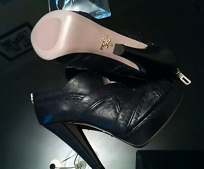 Prada Black Leather High Heels Size 36.5 New