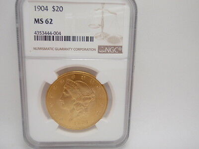 1904 $20 Gold Liberty Double Eagle Coin NGC MS 62
