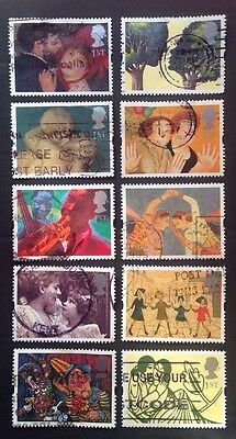COMMONWEALTH - GB 1995 GREETINGS STAMPS 'Greetings in Art 'Set (10) Used Stamps
