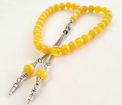 Yellow Pressed  Amber Prayer Beads  Tesbih Tasbih Free Shipping