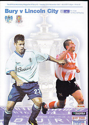 2001/02 BURY V LINCOLN CITY 27-11-2001 FA Cup 1st Round Replay