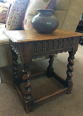 Antique Victorian Jacobean oak stool (ideal for use as a small table)