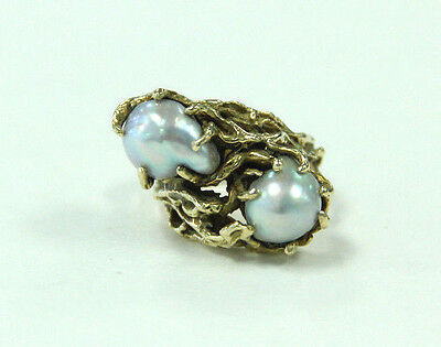 Estate Jewelry 14k Yellow Gold Very Unique Design Ring With 2 Pearls