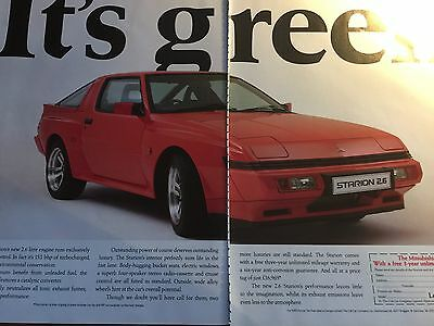"MITSUBISHI STARION 2.6 # ORIGINAL 1989 AUTOMOTIVE ADVERT # 12"" x 16"""