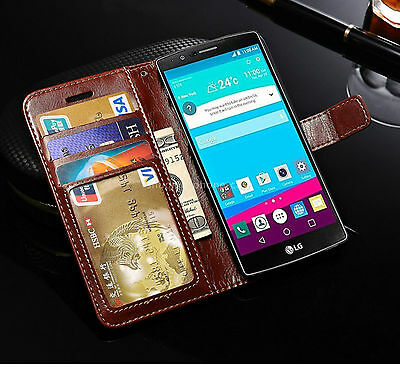 Classic Leather Stand Flip Front Rear Back Cover Case Wallet Card LG G4