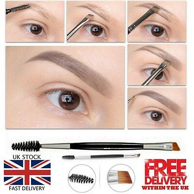 Eyebrow Double Ended Flat Angled Eyeliner Eyeshadow Make up Brow Mascara Brush