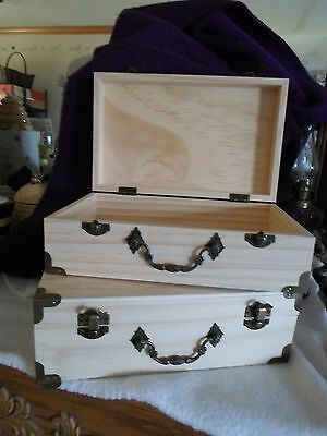 Unfinished Wooden Treasure Box/suitcase - Nwt - Great Craft Item - Set Of 2
