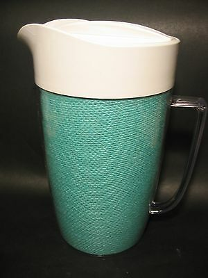 Vintage Insulated Pitcher With Lid - Turquoise Raffia Ware, Plastic
