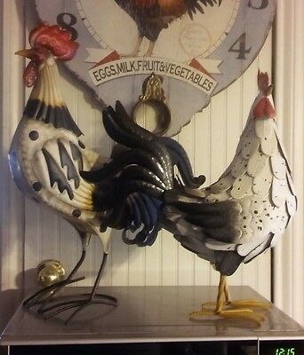 Rooster & Hen Chicken Metal Sculptures or Figurines for your Home Decor