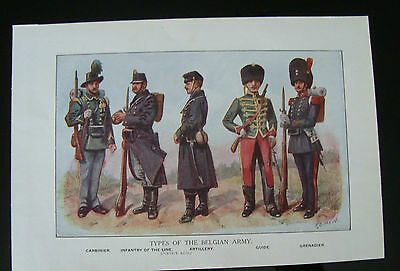 WW1 Print Types Of The Belgian Army