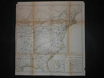 United States 1875 Antique Map Military Arsenals Powder Depots Firing Grounds HC