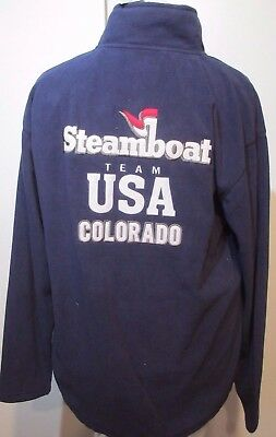 "Steamboat Springs Colorado USA Team Skiing Embroidered Fleece L 40"" chest New"